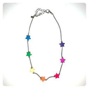 Rainbow star choker necklace